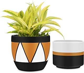 4a73ac726b22 Matte White & Black Ceramic Flower Pot 6 inch Set of 2 Indoor Planters with  Drainage