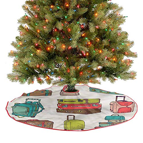 ThinkingPower Tree Skirt Decor Colorful Suitcases Traditional Christmas Tree Mat Super Soft and Appealing to The Eye Diameter - 48 Inch