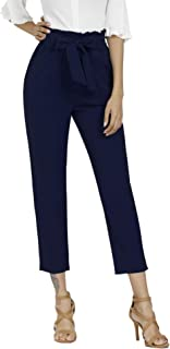 Women's Pants Casual Trouser Paper Bag Pants Elastic Waist Slim Pockets