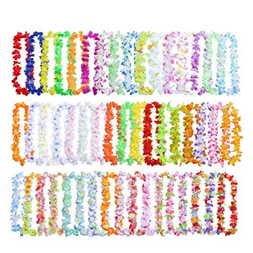 ZITFRI 50pcs Ghirlande Hawaiane Collane Hawaiane Festa Hawaiana Collane Hawaiane Economiche Collana di Fiori Hawaiana 90-100cm