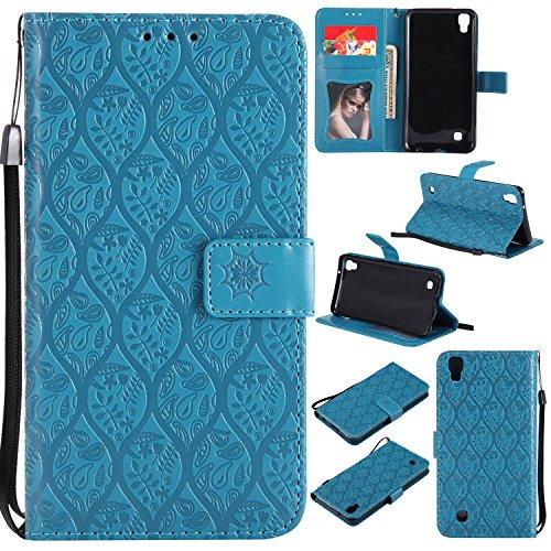 Lomogo LG X Power Hülle Leder, Schutzhülle Brieftasche mit Kartenfach Klappbar Magnetverschluss Stoßfest Kratzfest Handyhülle Hülle für LG X Power (K220) - LOYYO23419 Blau