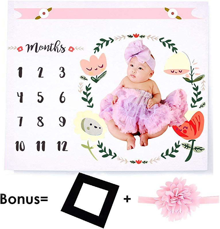 AXESX Baby Monthly Milestone Blanket Photo Props Shoots Backdrop For Newborn Boy Girl For First Year Photography Prop With Frame And Headband Photography Backdrop Baby Shower Gift