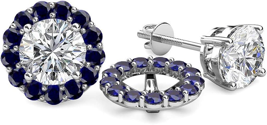TriJewels Blue Sapphire Halo Jacket for Stud Earrings 0.82 cttw in 14K White Gold