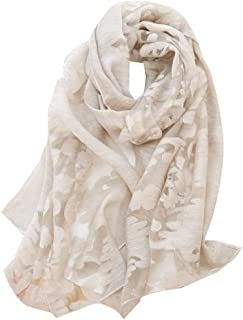 ANDYOU Women All-Match Shawl Lace Trim Solid Comfortable Scarf