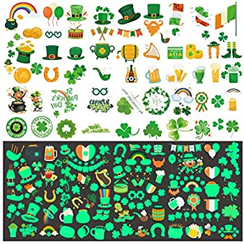 St Patricks Day Tattoos 200 Pcs St patrick s Day Temporary Tattoos including 90 Glow in The Dark or Night for St Paddy s Day Parade Party Favors Decorations