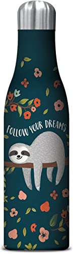 Studio Oh! 17 oz. Insulated Stainless Steel Water Bottle Available in 9 Designs Follow Your Dreams Sloth Follow Your ...