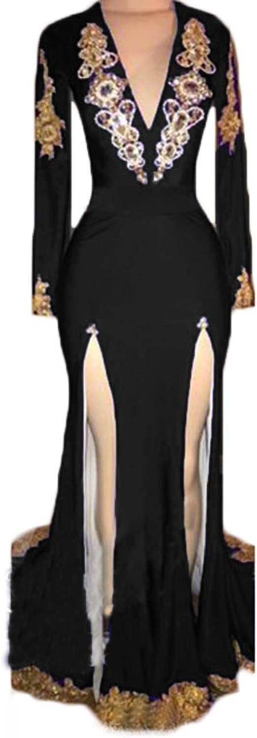 Alilith.Z Sexy V Neck Backless Side Slit Mermaid Prom Dresses Long Sleeves Dazzling