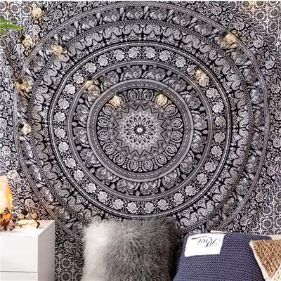 MXLF Tapestry Bohemian Mandala Pink Tenure Hippie Tapestry Indian Elephant Boho Decor Background Large Blanket Wall Cloth Tapestries (Color : Black, Size : 200cmx150cm)