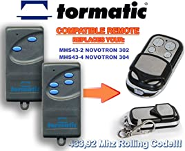 TORMATIC MHS43-2 NOVOTRON 302, MHS43-4 NOVOTRON 304 compatibele afstandsbediening vervangende zender, 433.92Mhz rollende c...