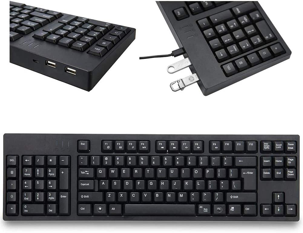 Lahshion Left-Handed USB Left Number Keyboard Wired 105 Keyboard Silent and Fast Financial Design Budget Stocks Office Black,L