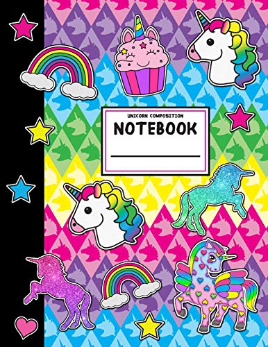 Unicorn Composition Notebook: Wide Ruled School Office Home Student Teacher 112 Pages - Unicorns Rai