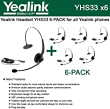 Yealink [6-Pack] YHS33 Headset with Enhanced Noise Canceling (YHS33-6)
