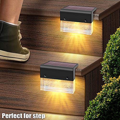 DenicMic Solar Deck Lights 6 Pack, LED Solar Powered Fence Step Lights Outdoor Waterproof for Stair, Railing, Patio, Garden, Backyard, 2 Lighting Modes, Warm White/Color Changing Holiday Decorations