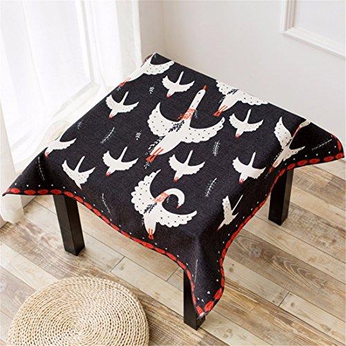 HXC Home Zwart tafelkleed, vogel, azteken bloemen, katoen, eettafel, kantoor, rechthoekig, rond, milieuvriendelijke decoratie
