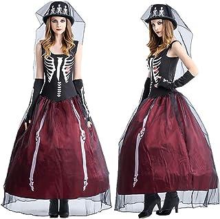 44336587a77f CWZJ Lady Halloween Fantasma Sposa Costume Taro Bianco Asciutto Cadavere  Sposa Cosplay Abito Carnevale Sexy Gonna
