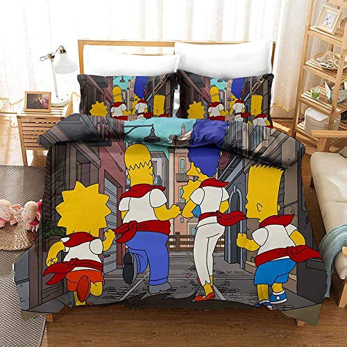 666 Duvet Cover Sets 3D The Simpsons Printing Christmas Child Adult Bedding Set 100% Polyester Duvet Cover 3 Pieces With 2 Pillowcases X-US King259x229cm