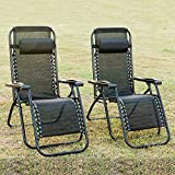 Leisure Zone 2 PCS Folding Zero Gravity Chairs with Head Pillow, Garden Outdoor Patio Sunloungers Folding Reclining Chairs Lounger Deck Chairs