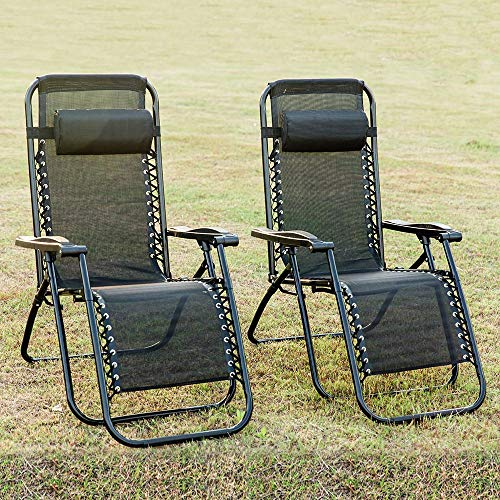 Nyyi Set of 4 Heavy Duty Textoline Zero Gravity Chairs Garden Outdoor Patio Sunloungers Folding Reclining Chairs Lounger Deck Chairs
