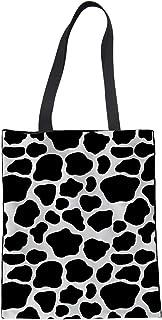 Showudesigns Showudesigns Einkaufstasche aus Segeltuch mit Kuh-Motiv, für Damen und Mädchen, Strandtasche, Schwarz / Weiß, mit langen Griffen, wiederverwendbar, faltbar, strapazierfähig