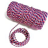 Huachnet Cotton Baker's Twine Best Arts Crafts Twine Industrial Packing Materials Heavy Duty Durable Cotton for Gardening Applications-100 Yard (Red&White&Blue)