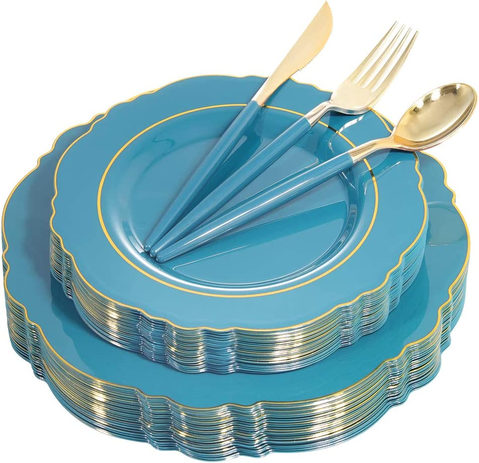 Nervure OFFicial site 100PCS Teal Plastic Plates Disposab With Rim Gold Great interest