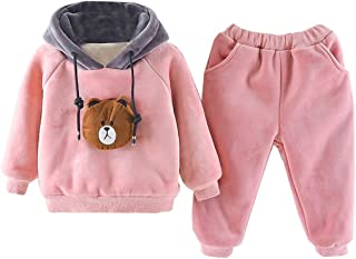 Fairy Baby Toddler Baby Girl Cartoon 2Pc Winter Fleece Outfit Clothes Thick Sweatshirt Set