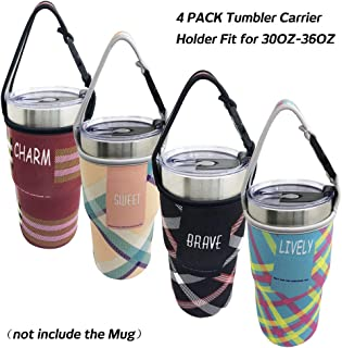 Sonku 4 Pack Tumbler Carrier Holder Pouch,for All 30oz Stainless Steel Travel Insulated Coffee Mugs, Neoprene Sleeve with Carrying Handle,Sweat Free,Portable,Protective,Washable -4 Colors
