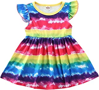 Toddler Kids Baby Girl Summer Dress Clothes Rainbow Twirl Dress Ruffle Sleeve Tutu Sundress Clothes (Rainbow, 2-3 Years)