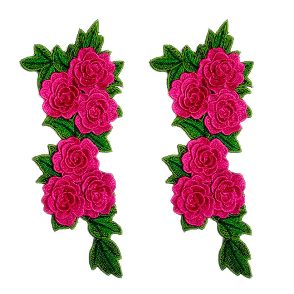 2Pcs 3D Colorful Floral Flower Embroidery Lace Patches Applique Lace Motifs Sew on DIY Clothes Dress Decoration Sewing Accessories (Rose Pink)