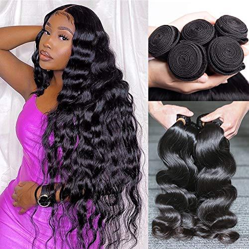 Human Hair Bundles Body Wave Human Hair Extensions 4 Bundles (20 18 16 14) Inch 9A 100% Unprocessed Brazilian Virgin Human Hair Weave Bundles By Coisini Hair