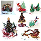 7Pcs 3D Pop Up Colorful Christmas Greeting Cards Merry Christmas Cards Handmade Holiday Xmas Cards & Envelopes for Xmas/New Year