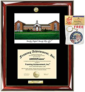 AllGiftFrames University of Maryland University College Diploma Frame School Lithograph Major Logo UMUC Graduation Degree Display Plaque Holder Case Black Matted Graduate Gift