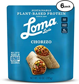 Loma Linda Blue - Plant-Based Meal Solution - Chorizo (10 oz.) (Pack of 6) - Non-GMO, Gluten Free