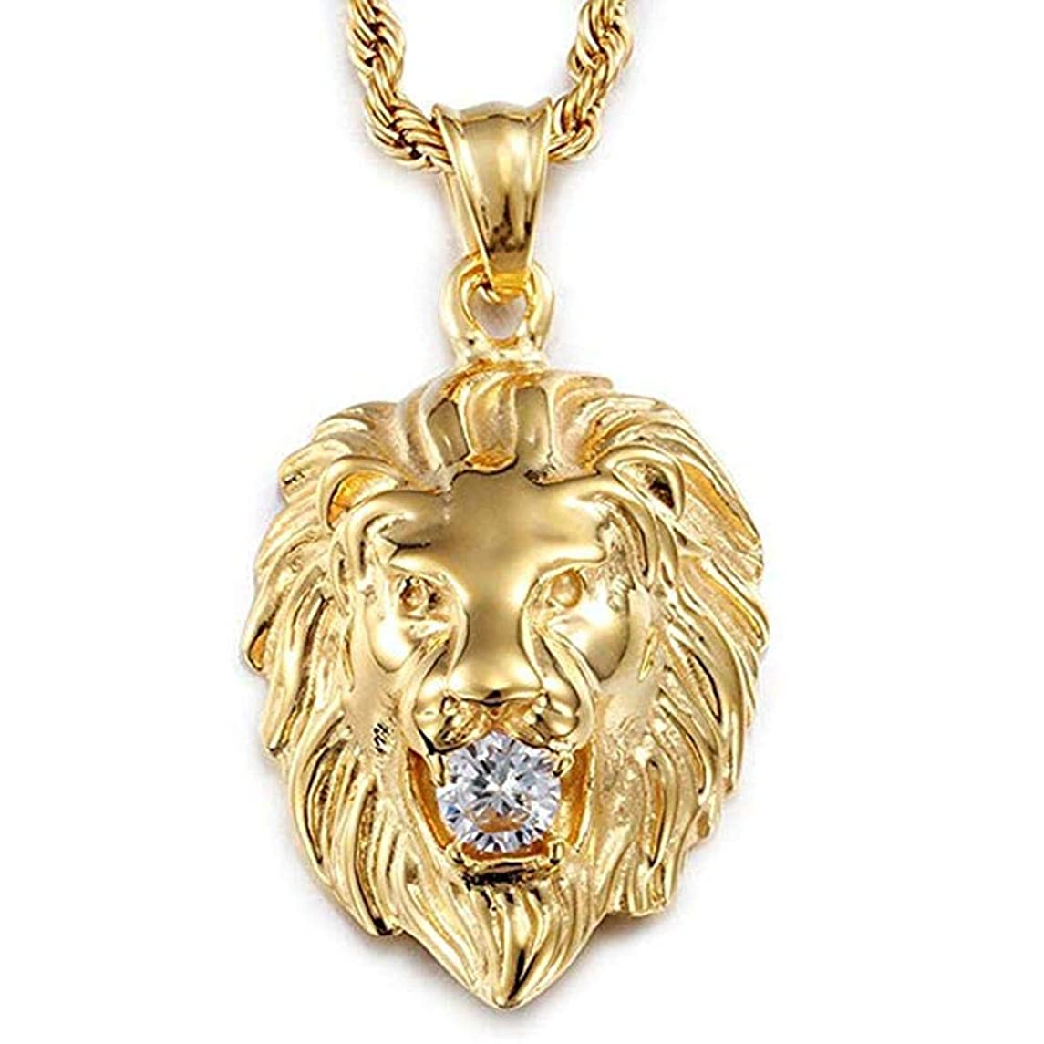 Stainless Steel Vintage Men's Gold Lion Pendant Necklace White Stone Rope Chain 27.5 inch Chain