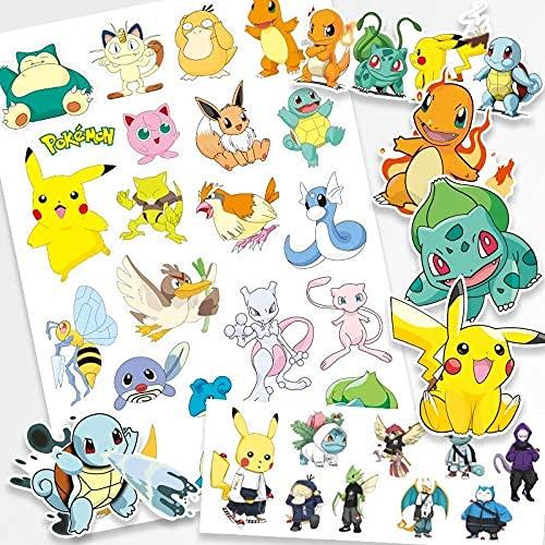 XXCKAOriginal Pokemon Tatouage Autocollant Étanche Mignon Pikachu Autocollants Mignon de BandeDessinéeEnfants Fille De Noël Anniversaire Jouet