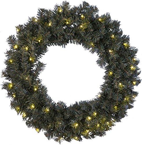 Stella LED corona di abete'di Ottawa', illuminato, LED bianco caldo 50 esterni, box trasformatore, diametro 70 cm 612-51