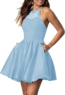 Jonlyc A Line Beaded Appliques Satin Homecoming Dresses with Pockets