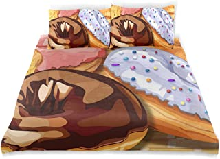 Donut Illustration Twin Bedding Duvet Cover Set 3 Piece Microfiber Down Comforter Quilt Cover with Zipper Closure + 2 Pillowcase for Kids 66