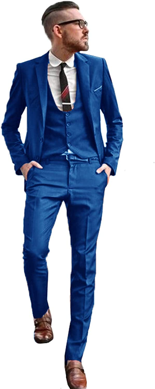 Mens 3 Piece Tuxedos Vintage Groomsmen Wedding Suit Complete Outfits(Jackets+Vest+Trousers)