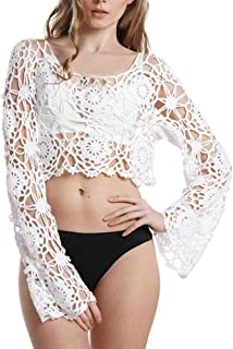 447c31d1a5a660 STORTO Women s Vest Bathing Suit Cover Up Crochet Lace Bikini Short Halter  Beach Tank Shirt Blouse