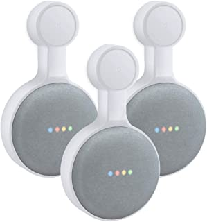 AMORTEK Outlet Wall Mount Holder for Google Home Mini, A Space-Saving Accessories for Google Home Mini Voice Assistant (White 3-Pack)