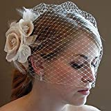 Kercisbeauty Wedding Bridal Flower Face Birdcage Single Layer Lace Champagne White Veil Drop with Hair Comb Chapel Dancing Prom Halloween Custom Hair Accessories