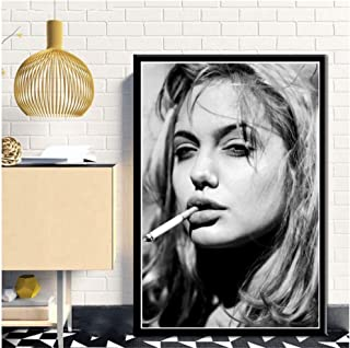 Angelina Jolie Smoking Girl Pop Pretty Sexy Woman Poster Bar Prints Wall Art Picture for Living Room Home Decor Canvas Print / 50X70cm-Sin marco