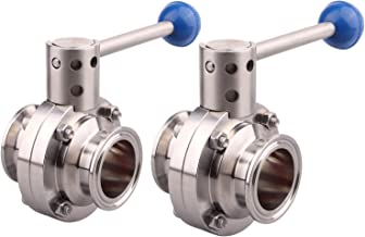 DERNORD 2 Pack 2 Inch Tri Clamp Sanitary Butterfly Valve with Pull Handle Stainless Steel 304 Tri Clamp Clover (2