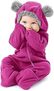 Kauneus Infant Toddler Girls Boys Loose Fit Fleece Footed Pajamas Cuddle Baby Bunting Bodysuit Zip Hoodie Romper Jumpsuit