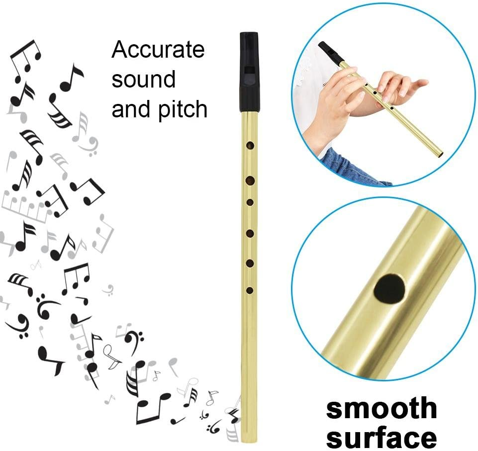 Irish Tin Whistle Multi-color Copper Traditional Irish D Whistle Tin Instrument with Storage Pouch Black