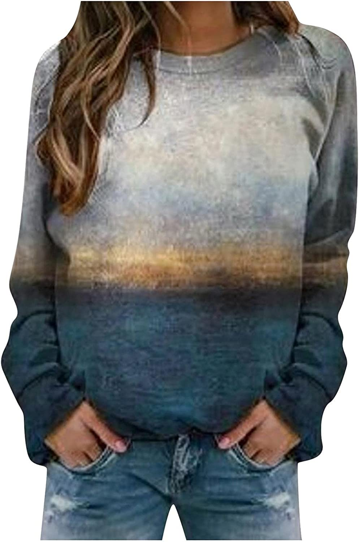 Sweatshirts for Women,Womens Crewneck Sweatshirts Tops Vintage Plus Size Long Sleeve Pullover Shirts