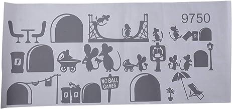 OVBBESS 1 St Zwarte Muis Trap Stickers 25 x 55cm Grappige Muizen Vliegtuig Cartoon Muurstickers Kids Home Decor Decals Tra...