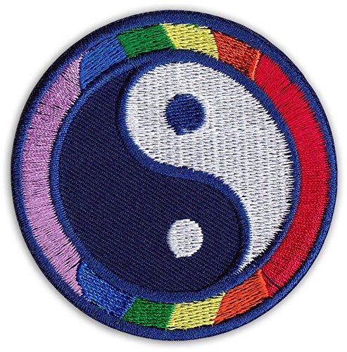 Yin y Yang Parche para planchar con símbolos de Buda, yoga, deportes de lucha, fiestas, festivales