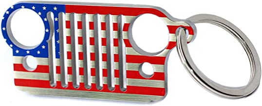 LROEZR 3D Font Grill Keychain Chain Key Ring for Jeep Driver Enthusiast Automotive Laser Cut 304 Stainless Steel Keyring (National Flag)